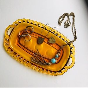 Vintage Brown Glass Ring + Jewelry Tray